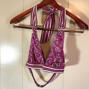 Tory Burch maroon gold halter swimsuit top